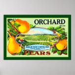 Obstgarten-Marken-Birnen-Vintager Anzeige-Druck Poster