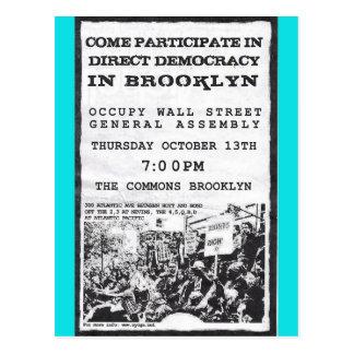 Occupy Wall Street-Brooklyn-Kundgebungs-Flyer Postkarte