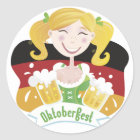 Octoberfest Mädchen Runder Aufkleber