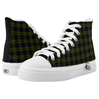 Odee, Armee, grün-blauer schwarzer karierter Hoch-geschnittene Sneaker