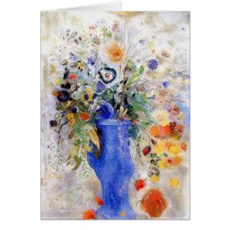 Odilon Redon - großer Blumenstrauß im blauen Karte