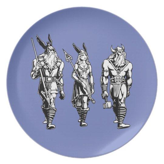 Odin, Freyja u. Thor Melaminteller