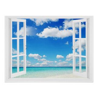 Offenes Fenster am Strand Poster