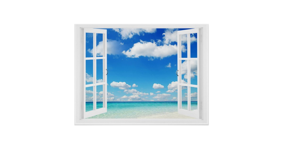 Offenes fenster  Offenes Fenster am Strand Poster | Zazzle