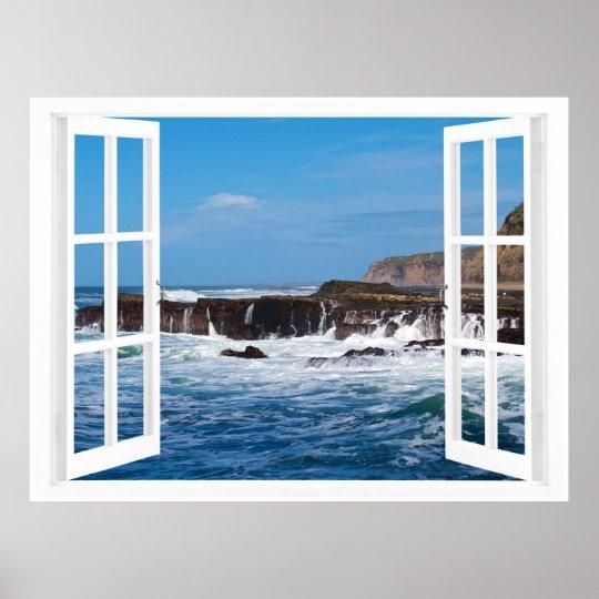 Offenes fenster  Offenes Fenster-Küsten-Entweichen Poster | Zazzle