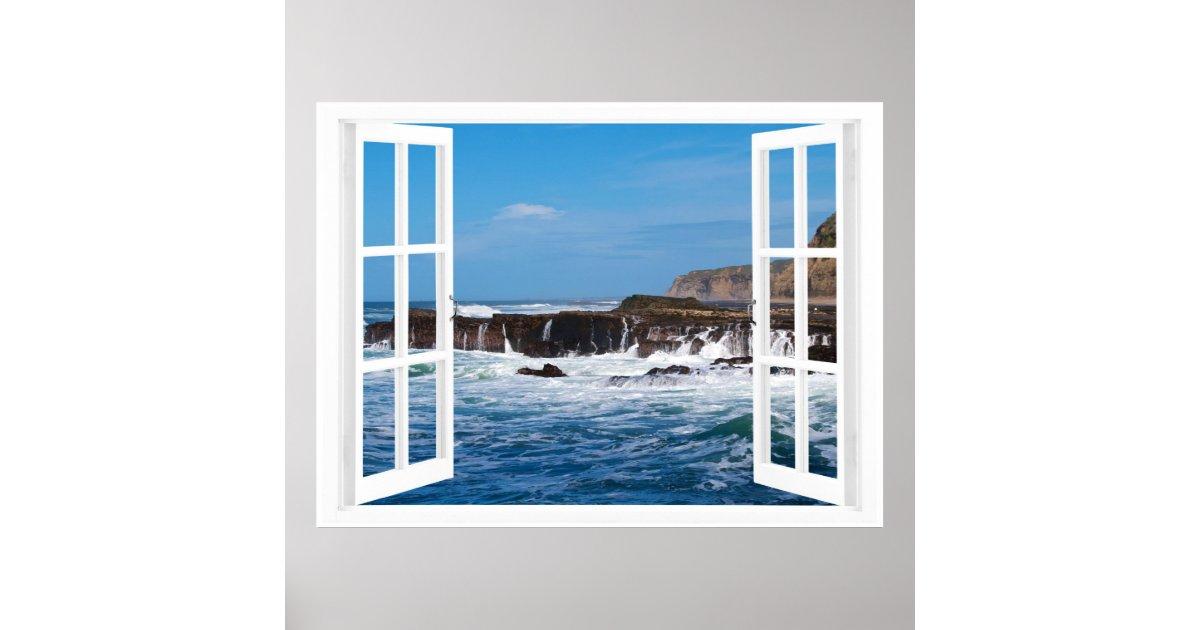 Offenes fenster von außen  Offenes Fenster-Küsten-Entweichen Poster   Zazzle