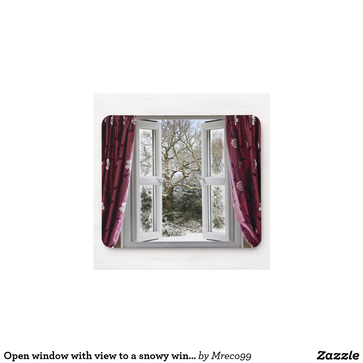 offenes fenster mit ansicht zu einer schneebedeckt. Black Bedroom Furniture Sets. Home Design Ideas