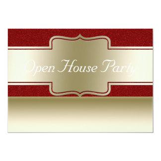 Offenes Haus-Party  Chic-Goldroter Glitter-Effekt Karte