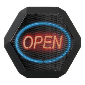 Offenes Zeichen des Neons Schwarze Bluetooth Lautsprecher