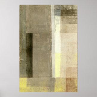 """""""Offensichtliche"""" beige und gelbe abstrakte Kunst Poster"""