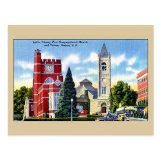 Öffentliche Bibliothek, Kirche, Taverne, Nashua NH Postkarte