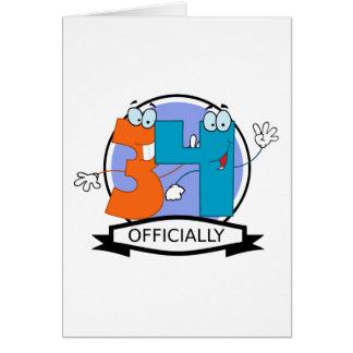 Offiziell 34 Geburtstags-Fahne Karte