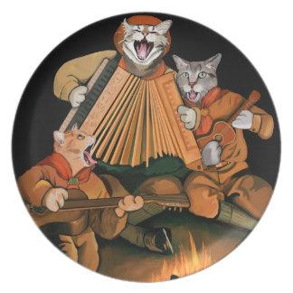 Offizielle Katze kundschaftet Lagerfeuer-Retro Teller