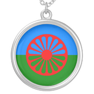 Offizielle Romany-Sinti und Romaflagge Halskette Mit Rundem Anhänger