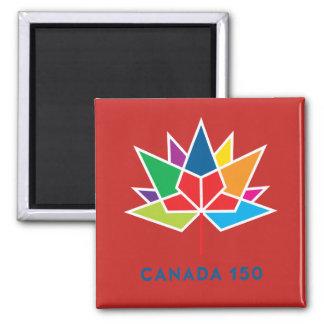 Offizielles Logo Kanadas 150 - Mehrfarben- und rot Quadratischer Magnet