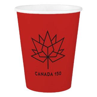 Offizielles Logo Kanadas 150 - Rot und Schwarzes Pappbecher