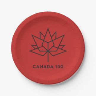 Offizielles Logo Kanadas 150 - Rot und Schwarzes Pappteller