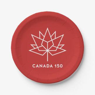 Offizielles Logo Kanadas 150 - Rot und Weiß Pappteller 17,8 Cm