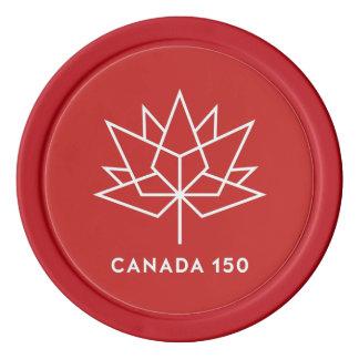 Offizielles Logo Kanadas 150 - Rot und Weiß Poker Chips