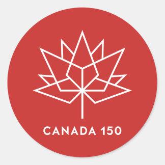 Offizielles Logo Kanadas 150 - Rot und Weiß Runder Aufkleber