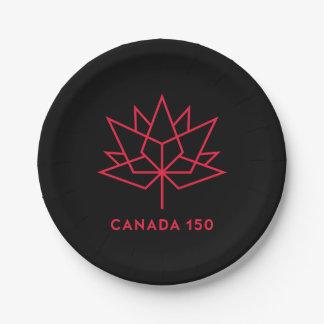 Offizielles Logo Kanadas 150 - Schwarzes und Rot Pappteller