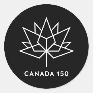 Offizielles Logo Kanadas 150 - Schwarzweiss Runder Aufkleber