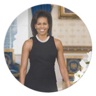Offizielles Porträt erster Dame Michelle Obama Melaminteller