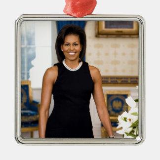 Offizielles Porträt erster Dame Michelle Obama Silbernes Ornament