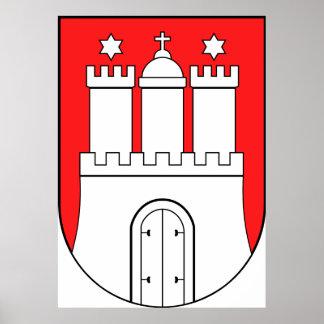 Offizielles Wappen Symbol Hamburgs Deutschland Plakat
