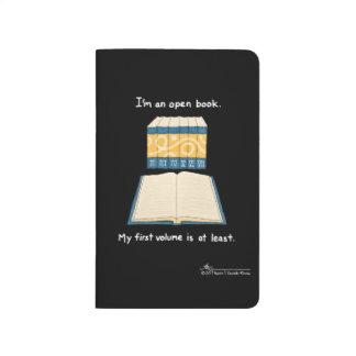 Öffnen Sie Buch-schwarze Taschen-Zeitschrift Taschennotizbuch