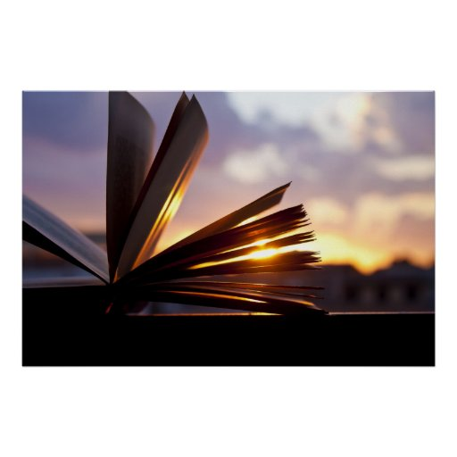 Öffnen Sie Buch-und Sonnenuntergang-Fotografie Poster