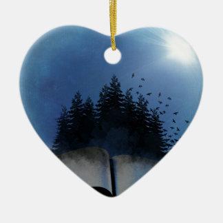 Öffnen Sie Buch-Wald Keramik Ornament