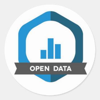 Öffnen Sie Daten-Aufkleber-Abzeichen Runder Aufkleber