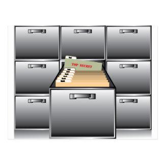 Öffnen Sie Fach mit streng geheim Datei Postkarte