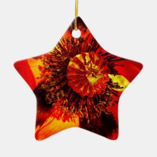 öffnen Sie Mohnblume zwei Keramik Ornament