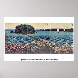 Öffnungsfeier in Soshu durch Ando, Hiroshige Poster