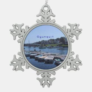 Ogunquit, Maine Schneeflocken Zinn-Ornament