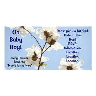 Oh Baby! Einladungen Babyparty-Magnolie Foto Karten