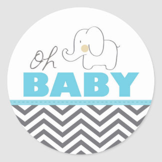 Oh Baby-Elefant - blaue Babyparty laden Aufkleber