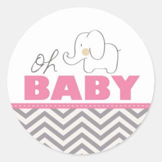 Oh Baby-Elefant - rosa Babyparty laden Aufkleber