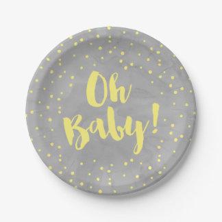 Oh Baby-graue und gelbe Aquarell-Babyparty Pappteller 17,8 Cm