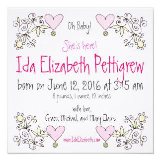 Oh Baby! Wunderliche Frühjahr-Geburts-Mitteilung Quadratische 13,3 Cm Einladungskarte