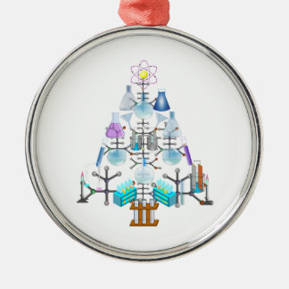 Oh Chemie, oh Chemiker-Baum Rundes Silberfarbenes Ornament