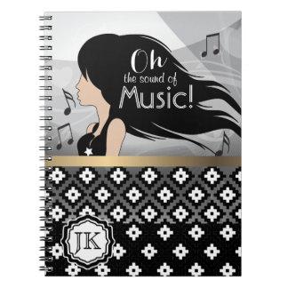 Oh der Ton des Musik-Mädchens Spiral Notizblock
