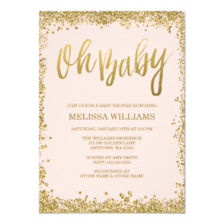 Oh erröten Baby rosa GoldGlitter-Baby-Dusche 11,4 X 15,9 Cm Einladungskarte