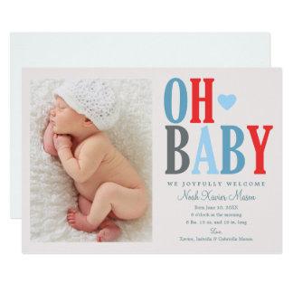 Oh Geburts-Mitteilung des Baby-| Karte
