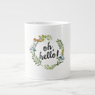 Oh hallo Watercolor-Blumewreath-Kaffee-Tasse Jumbo-Tasse