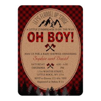 Oh Holzfäller-laden rote Büffel-Babyparty ein Karte