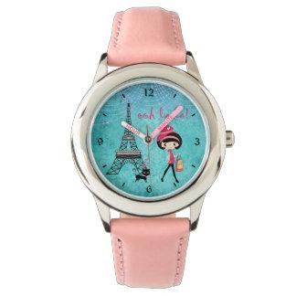Oh La-La-Parismädchen und -katze mit Eiffelturm Armbanduhr