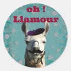Oh! Llamour. Lama-T - Shirt Runder Aufkleber
